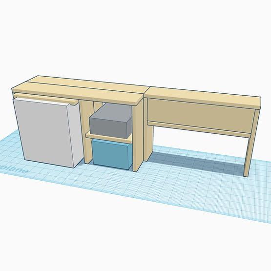 A 3d render of a bespoke rustic handmade camper van unit