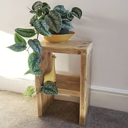 A rustic bedside table with green plant and yellow giraffe ornament