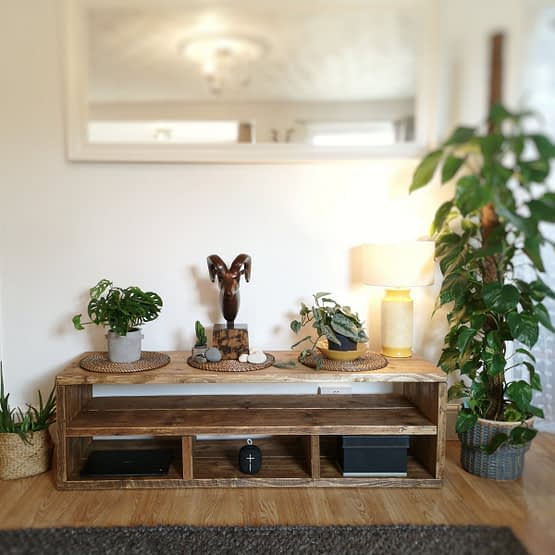 a rustic handmade tv stand media unit
