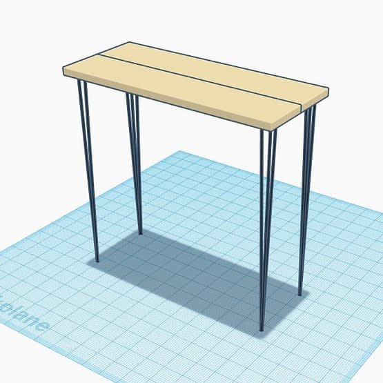 A tall rustic bar top table with hairpin legs