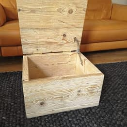 An open, useful reclaimed timber ottoman storage unit