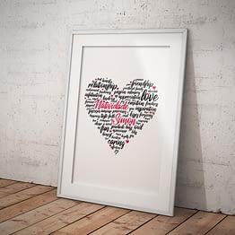 Typographic poster heart love