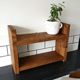 A handmade rustic countertop unit